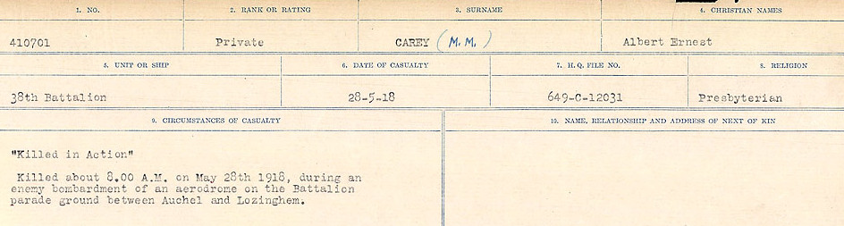 Circumstances of Death Registers– Source: Library and Archives Canada.  CIRCUMSTANCES OF DEATH REGISTERS, FIRST WORLD WAR Surnames:  Canavan to Caswell. Microform Sequence 18; Volume Number 31829_B016727. Reference RG150, 1992-93/314, 162.  Page 177 of 1004.