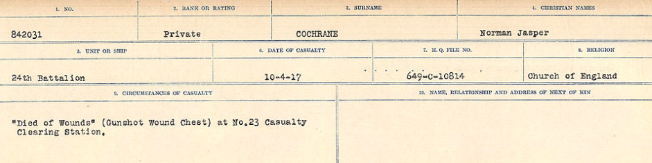 Circumstances of Death Registers– Source: Library and Archives Canada.  CIRCUMSTANCES OF DEATH REGISTERS, FIRST WORLD WAR Surnames:  CLEAL TO CONNOLLY.  Microform Sequence 21; Volume Number 31829_B016730. Reference RG150, 1992-93/314, 165.  Page 441 of 1384.