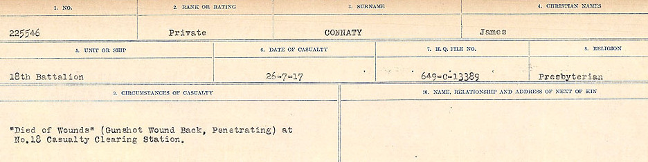 Circumstances of Death Registers– Source: Library and Archives Canada.  CIRCUMSTANCES OF DEATH REGISTERS, FIRST WORLD WAR Surnames:  CLEAL TO CONNOLLY.  Microform Sequence 21; Volume Number 31829_B016730. Reference RG150, 1992-93/314, 165.  Page 1287 of 1384.