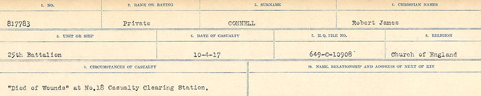 Circumstances of Death Registers– Source: Library and Archives Canada.  CIRCUMSTANCES OF DEATH REGISTERS, FIRST WORLD WAR Surnames:  CLEAL TO CONNOLLY.  Microform Sequence 21; Volume Number 31829_B016730. Reference RG150, 1992-93/314, 165.  Page 1301 of 1384.