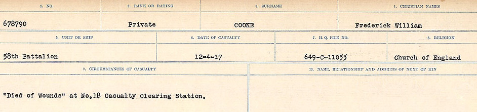Circumstances of Death Registers– Source: Library and Archives Canada.  CIRCUMSTANCES OF DEATH REGISTERS, FIRST WORLD WAR Surnames:  CONNON TO CORBETT.  Microform Sequence 22; Volume Number 31829_B016731. Reference RG150, 1992-93/314, 166.  Page 371 of 818.