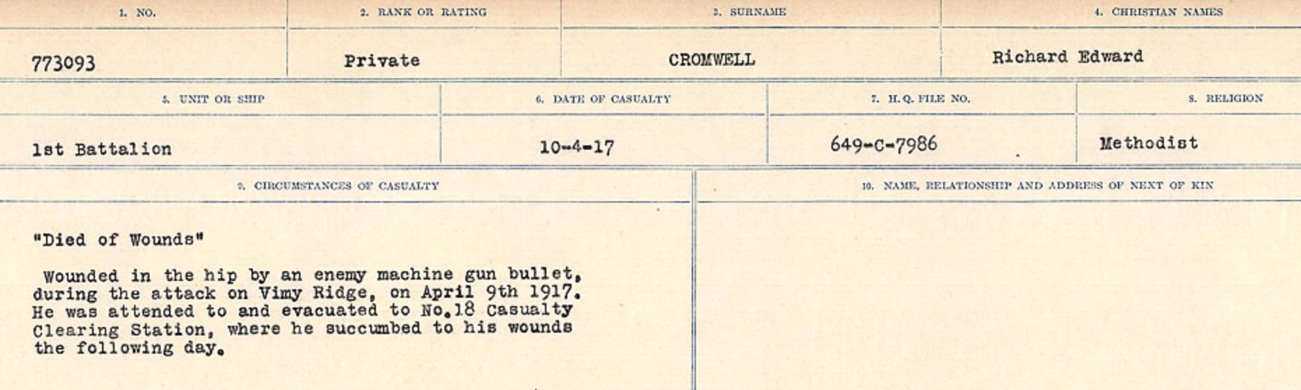 Circumstances of death registers– Source: Library and Archives Canada. CIRCUMSTANCES OF DEATH REGISTERS, FIRST WORLD WAR Surnames: CRABB TO CROSSLAND Microform Sequence 24; Volume Number 31829_B016733. Reference RG150, 1992-93/314, 168. Page 653 of 788.