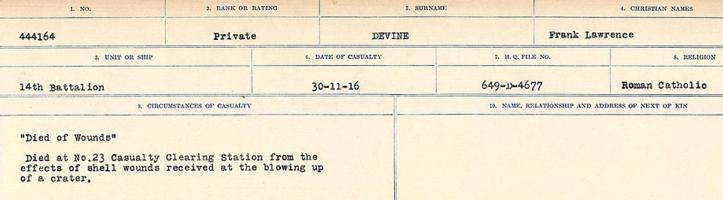 Circumstances of death registers– Source: Library and Archives Canada. CIRCUMSTANCES OF DEATH REGISTERS, FIRST WORLD WAR. Surnames: Deuel to Domoney. Microform Sequence 28; Volume Number 31829_B016737. Reference RG150, 1992-93/314, 172. Page 55 of 1084.