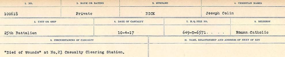 Circumstances of death registers– Source: Library and Archives Canada. CIRCUMSTANCES OF DEATH REGISTERS, FIRST WORLD WAR. Surnames: Deuel to Domoney. Microform Sequence 28; Volume Number 31829_B016737. Reference RG150, 1992-93/314, 172. Page 253 of 1084.