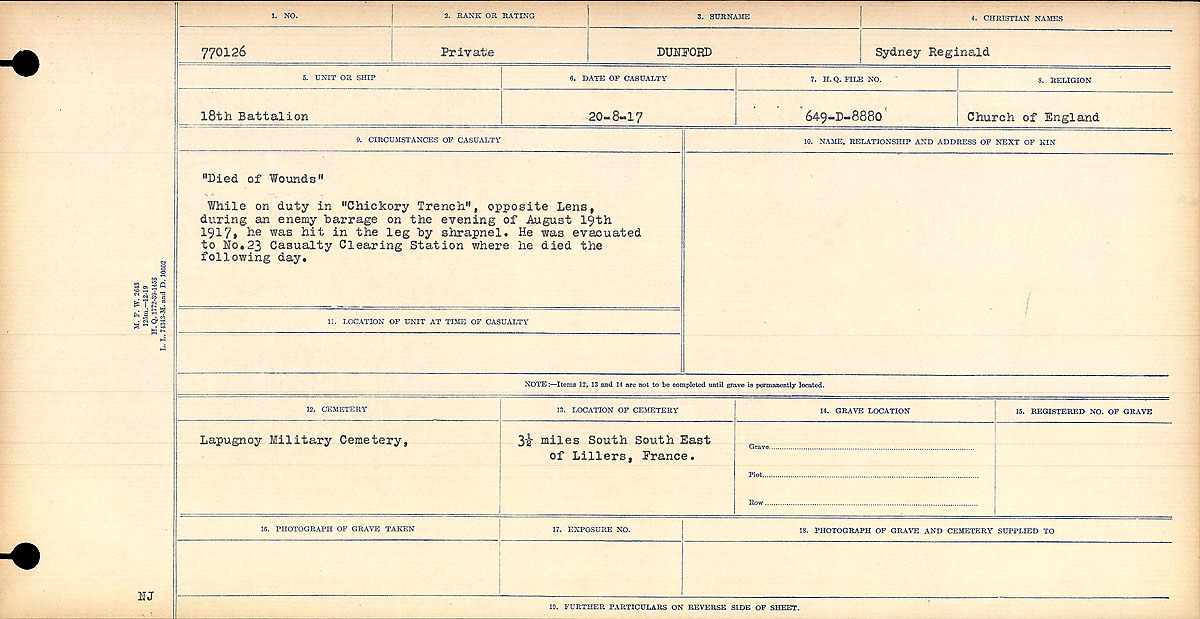 """Circumstances of Death Registers– """"Died of Wounds"""" While on duty in """"Chickory Trench"""". opposite Lens, during an enemy barrage on the evening of August 19th 1917, he was hit in the leg with shrapnel. He was evacuated to No. 23 Casualty Clearing Station where he died the following day.  Contributed by E.Edwards www.18thbattalioncef.wordpress.com"""