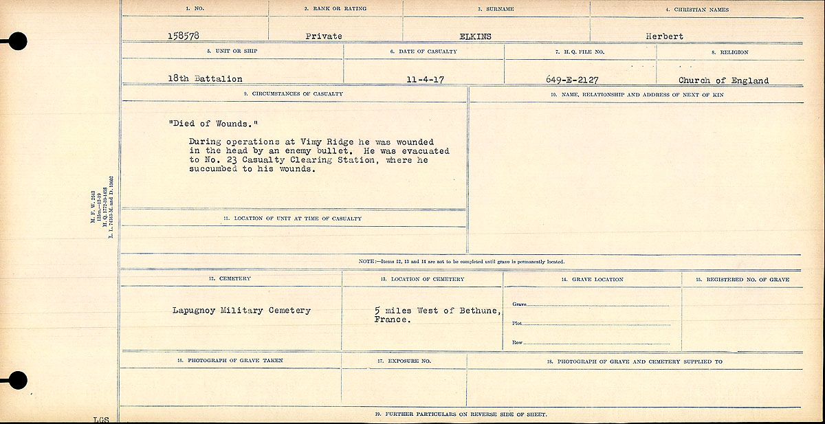 """Circumstances of Death Registers– """"Died of Wounds"""" During operations at Vimy Ridge he was wounded in the head by an enemy bullet. He was evacuated to No. 23 Casualty Clearing Station, were he succumbed to his wounds."""