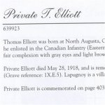 Memorial Page– Thomas Elliott is honoured on page 12 of the Merrickville Remembers booklet, published in January 2003.