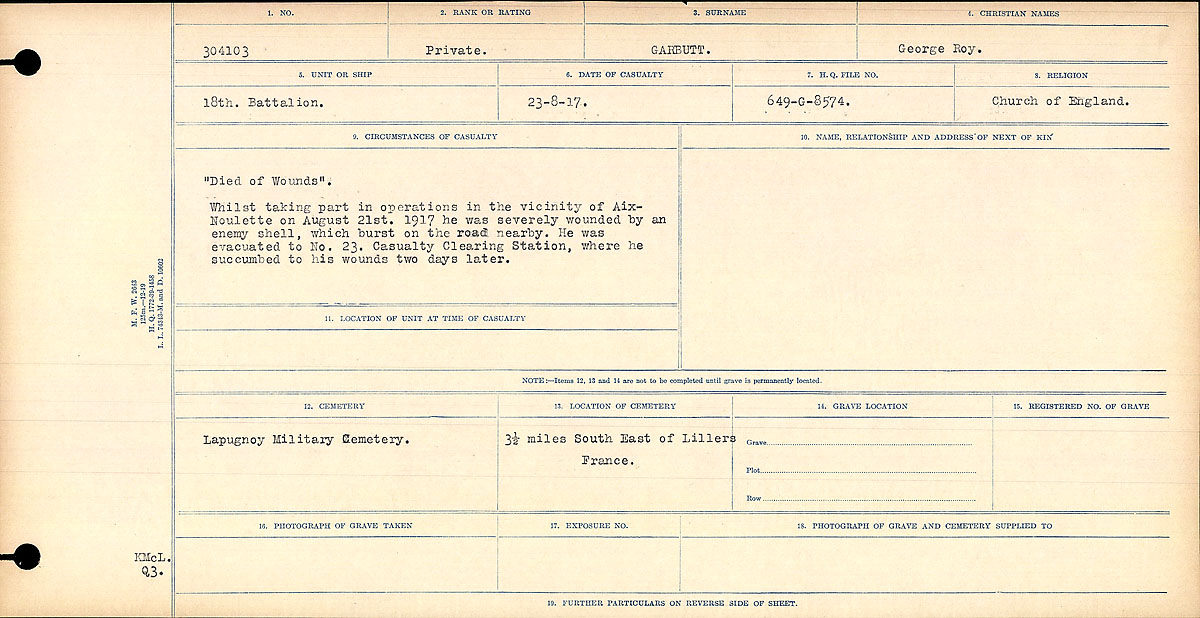 "Circumstances of Death Registers– ""Died of Wounds"" Whilst taking part in operations in the vicinity of Aux-Noulette on August 21, 1917 he was severely wounded by an enemy shell, which burst in the road nearby. He was evacuated to No. 23 Casualty Clearing Station, where he succumbed to his wounds two days later.