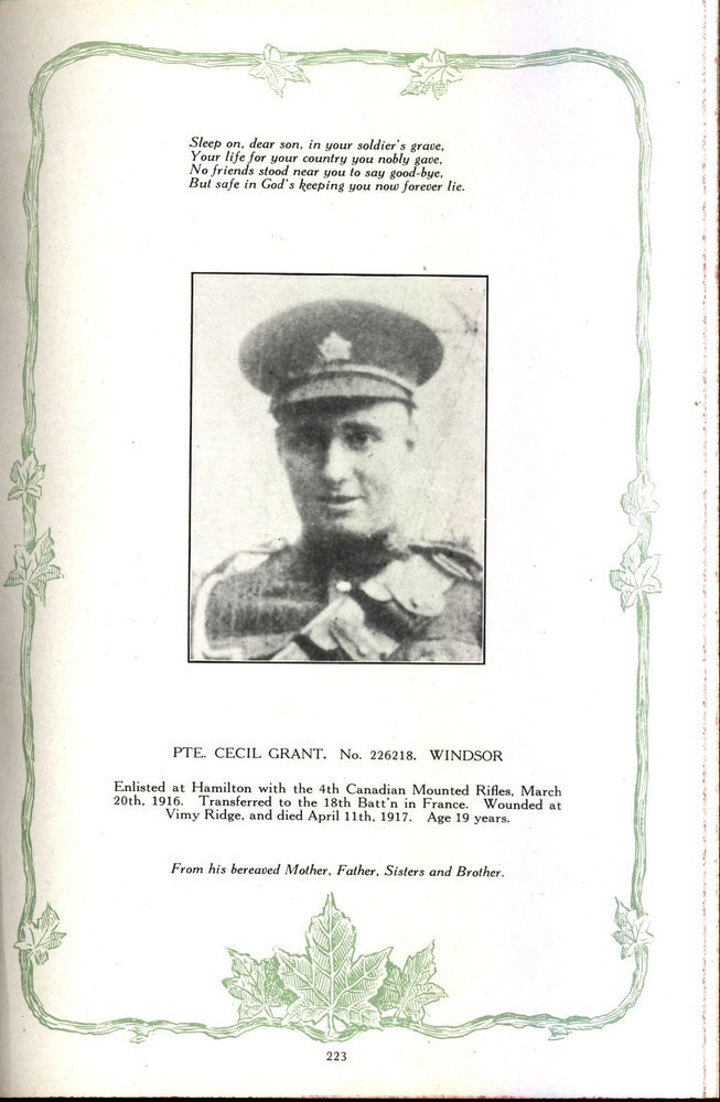 Photo of Cecil Thomas Grant– Private Cecil Thomas Grant photograph. Source: The Regimental Rogue.