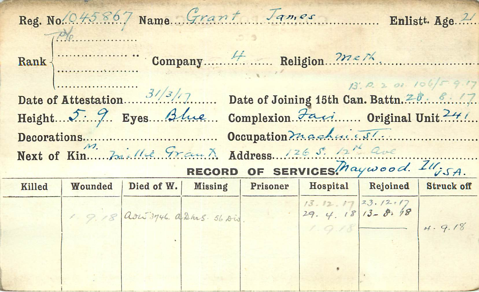 Record of Service– 15th Battalion Record of Services card for Pte James Grant. Submitted by BGen G Young 15th Battalion CEF Memorial Project. Dileas Gu Brath