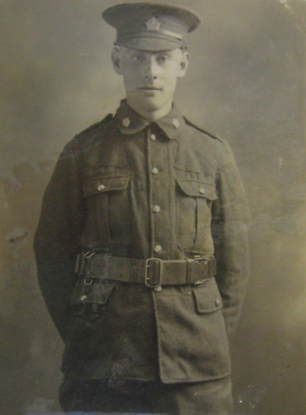 Photo of John McLean– Private John McLean, photo provided by Padre Phil Miller, Br. 25, RCL, Sault Ste. Marie, Ontario. We Will Remember Them.