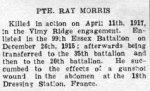 Obituary– Newspaper notice of Private Morris' death.