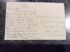 Post Card– Postcard from Clarence to his sister, Plessa Myers.