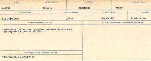 Circumstances of death registers– Source: Library and Archives Canada. CIRCUMSTANCES OF DEATH REGISTERS, FIRST WORLD WAR. Surnames: Deuel to Domoney. Microform Sequence 28; Volume Number 31829_B016737. Reference RG150, 1992-93/314, 172. Page 341 of 1084.