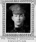 Photo of Thomas Govenlock– From: The Varsity Magazine Supplement published by The Students Administrative Council, University of Toronto 1918.  