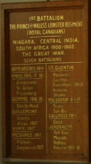 Leinster Regiment plaque– Leinster Regiment plaque at Royal Military College of Canada