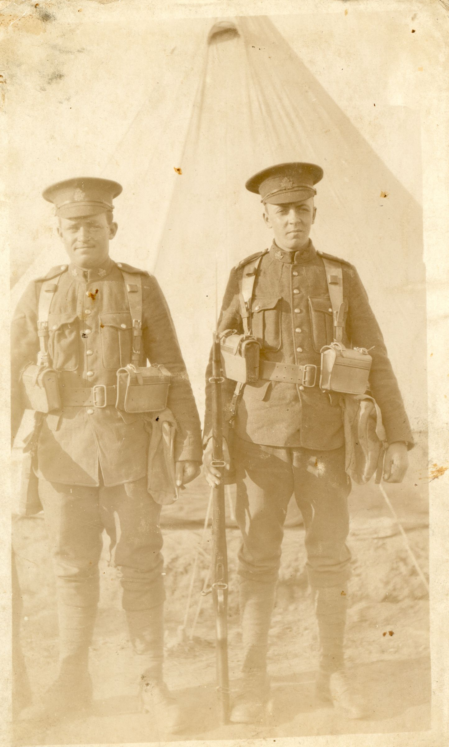 Photo of Patrick Smith– Patrick Lorne Smith of Campbellton NB is on the RIGHT in this photo.  He died of wounds sustained at Battle of Vimy Ridge.