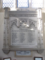 War Memorial– This War Memorial tablet inside the Abbey Church, Thorney, Cambridgeshire, England has the name of Percy Tompkins commemorated on it.  He enlisted on 15/1/1917 at High Plains, Alberta and gave his occupation as a farmer.