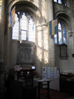 Memorial– This shows the setting of the tablet inside the Abbey Church, Thorney.