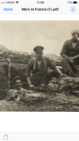 Photo of Wesley Tuddenham– Corporal Wes Tuddenham of Sudbury Ontario. Digging a Trench in France in 1916. Along with Thomas Green (left) and Seargent Melville Kilpatrick (right). Wes died of his wounds sustained in battle 6 months later.