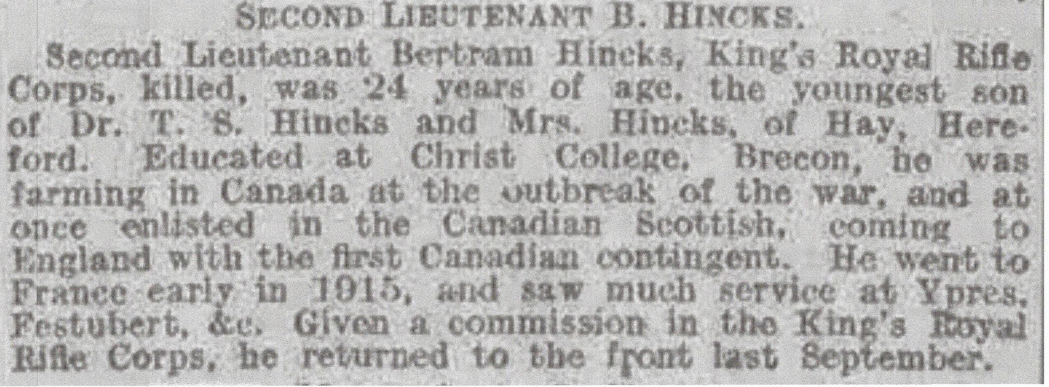 Newspaper Clipping– Newspaper clipping from Daily Telegraph of December 30, 1916. Image taken from web address of http://www.telegraph.co.uk/news/ww1-archive/12214039/Daily-Telegraph-December-30-1916.html