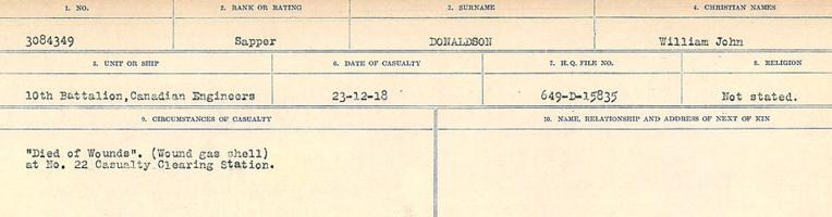 Circumstances of death registers– Source: Library and Archives Canada. CIRCUMSTANCES OF DEATH REGISTERS, FIRST WORLD WAR. Surnames: Don to Drzewiecki. Microform Sequence 29; Volume Number 31829_B016738. Reference RG150, 1992-93/314, 173. Page 101 of 1076.