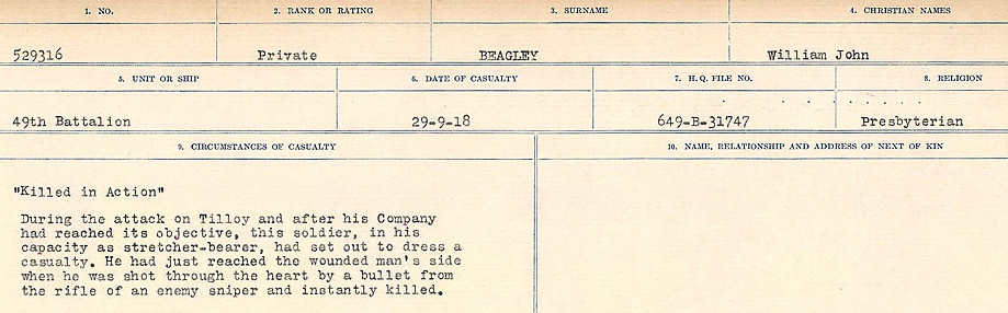 Circumstances of Death– Source: Library and Archives Canada.  CIRCUMSTANCES OF DEATH REGISTERS FIRST WORLD WAR Surnames:  Bea to Belisle  Mircoform Sequence 7; Volume Number 31829_B016717. Reference RG150, 1992-93/314, 151.  Page 37 of 724.