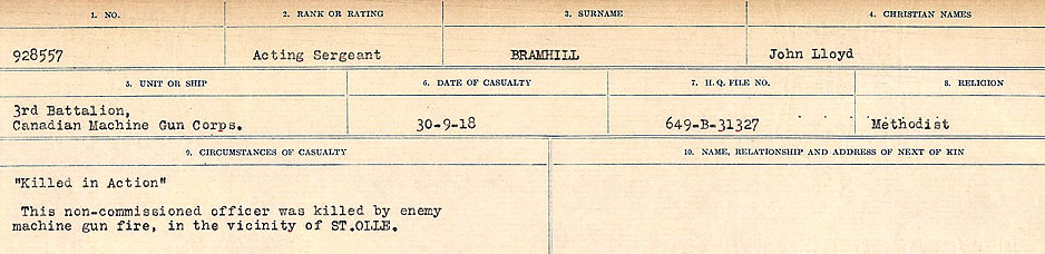Circumstances of Death Registers– Source: Library and Archives Canada.  CIRCUMSTANCES OF DEATH REGISTERS FIRST WORLD WAR Surnames: Brabant to Britton. Mircoform Sequence 13; Volume Number 131829_B016722; Reference RG150, 1992-93/314, 157 Page 233 of 906