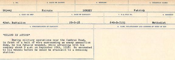 Circumstances of death registers– Source: Library and Archives Canada. CIRCUMSTANCES OF DEATH REGISTERS, FIRST WORLD WAR. Surnames: Don to Drzewiecki. Microform Sequence 29; Volume Number 31829_B016738. Reference RG150, 1992-93/314, 173. Page 685 of 1076.