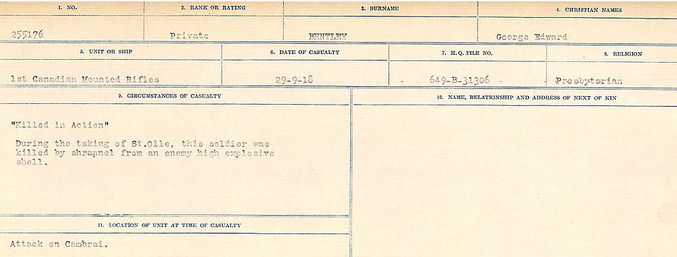 Circumstances of Death– Source: Library and Archives Canada.  CIRCUMSTANCES OF DEATH REGISTERS FIRST WORLD WAR Surnames:  Bell to Bernaquez.  Mircoform Sequence 8; Volume Number 31829_B016718; Reference RG150, 1992-93/314, 152 Page 589 of 670