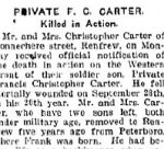 Newspaper Clipping– From the Renfrew Mercury for 18 October 1918.
