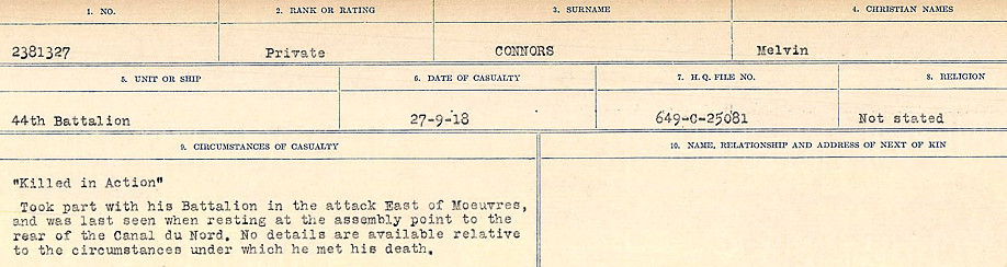 Circumstances of Death Registers– Source: Library and Archives Canada.  CIRCUMSTANCES OF DEATH REGISTERS, FIRST WORLD WAR Surnames:  CONNON TO CORBETT.  Microform Sequence 22; Volume Number 31829_B016731. Reference RG150, 1992-93/314, 166.  Page 43 of 818.
