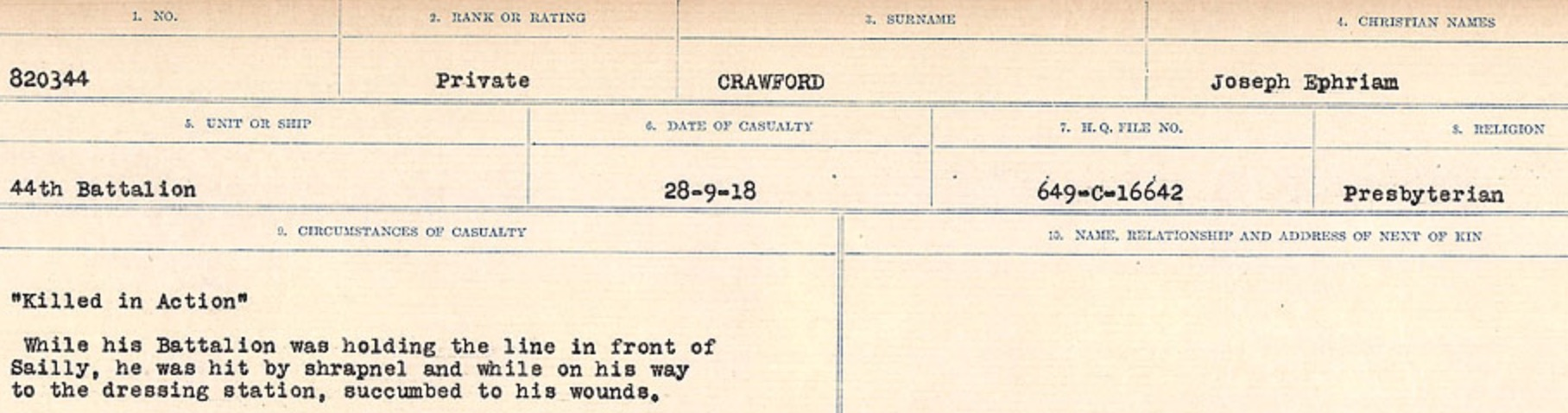 Circumstances of death registers– Source: Library and Archives Canada. CIRCUMSTANCES OF DEATH REGISTERS, FIRST WORLD WAR Surnames: CRABB TO CROSSLAND Microform Sequence 24; Volume Number 31829_B016733. Reference RG150, 1992-93/314, 168. Page 361 of 788.