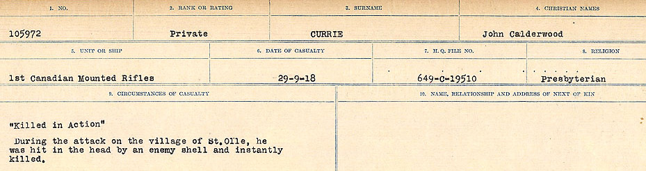 Circumstances of death registers– Source: Library and Archives Canada. CIRCUMSTANCES OF DEATH REGISTERS, FIRST WORLD WAR Surnames: Crossley to Cyrs. Microform Sequence 25; Volume Number 31829_B016734. Reference RG150, 1992-93/314, 169. Page 637 of 890.
