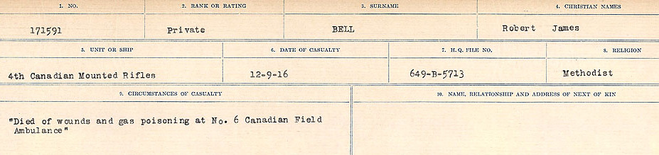 Circumstances of Death– Source: Library and Archives Canada.  CIRCUMSTANCES OF DEATH REGISTERS FIRST WORLD WAR Surnames:  Bell to Bernaquez.  Mircoform Sequence 8; Volume Number 31829_B016718; Reference RG150, 1992-93/314, 152 Page 183 of 670.