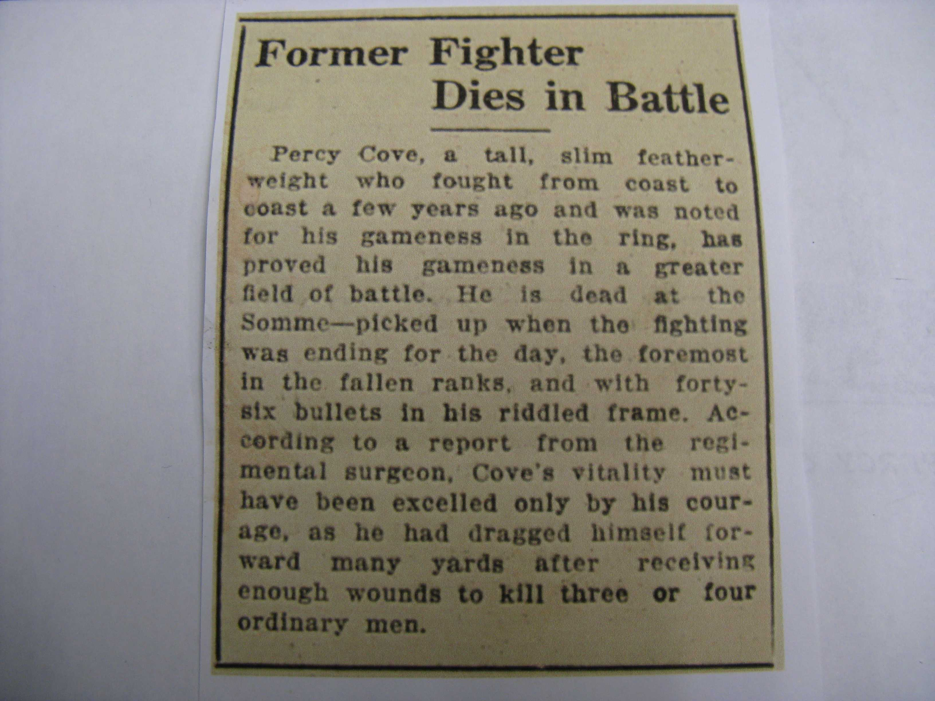 Newspaper Clipping– Boxer Percy (Cove) Chamberlain