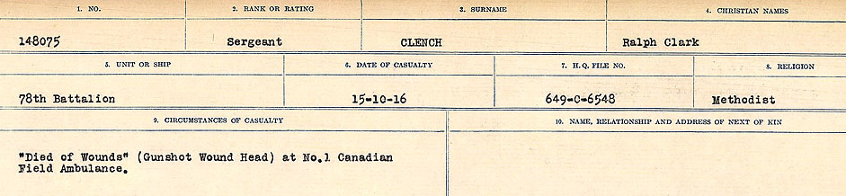 Circumstances of Death Registers– Source: Library and Archives Canada.  CIRCUMSTANCES OF DEATH REGISTERS, FIRST WORLD WAR Surnames:  CLEAL TO CONNOLLY.  Microform Sequence 21; Volume Number 31829_B016730. Reference RG150, 1992-93/314, 165.  Page 121 of 1384.