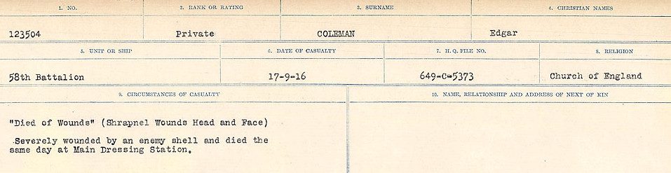 Circumstances of Death Registers– Source: Library and Archives Canada.  CIRCUMSTANCES OF DEATH REGISTERS, FIRST WORLD WAR Surnames:  CLEAL TO CONNOLLY.  Microform Sequence 21; Volume Number 31829_B016730. Reference RG150, 1992-93/314, 165.  Page 747 of 1384.