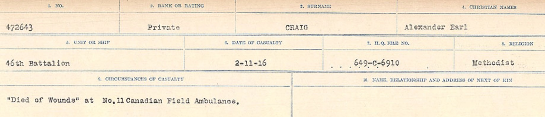 Circumstances of Death Registers– Source: Library and Archives Canada. CIRCUMSTANCES OF DEATH REGISTERS, FIRST WORLD WAR Surnames: CRABB TO CROSSLAND Microform Sequence 24; Volume Number 31829_B016733. Reference RG150, 1992-93/314, 168. Page 49  of 788.