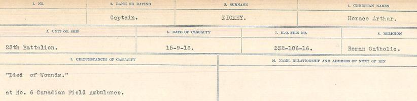 Circumstances of death registers– Source: Library and Archives Canada. CIRCUMSTANCES OF DEATH REGISTERS, FIRST WORLD WAR. Surnames: Deuel to Domoney. Microform Sequence 28; Volume Number 31829_B016737. Reference RG150, 1992-93/314, 172. Page 287 of 1084.