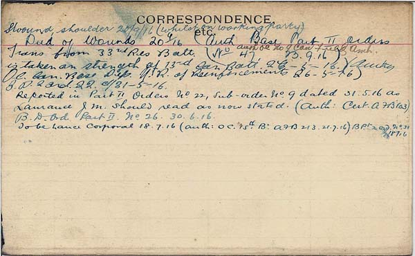 Record of Service– Record of Service Card (reverse side)  Submitted by 15th Bn Memorial Project Team.  DILEAS GU BRATH