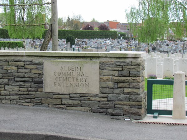 Cemetery– Albert Communal Cemetery Extension, France  Photo by Ken Riley