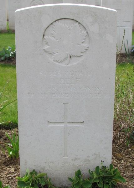 Grave Marker– Leslie Relf, Albert Communal Cemetery Extension, France  Photo by Ken Riley