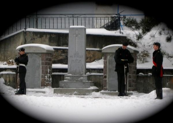 "War Memorial– ""Algonquin Regiment"" Army Cadets Standing Guard, Cenotaph, Major Edward J Holland VC Memorial Park, Cobalt Ontario, Nov 11, 2014.  Photo by Ken Riley"