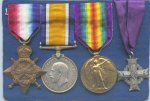 Medals– The service medals and Memorial Cross of Major Charles Blair Wilson, 42nd Battalion RHC.  He was killed at the Battle of the Somme September 15, 1916. (Photo from donor's collection)