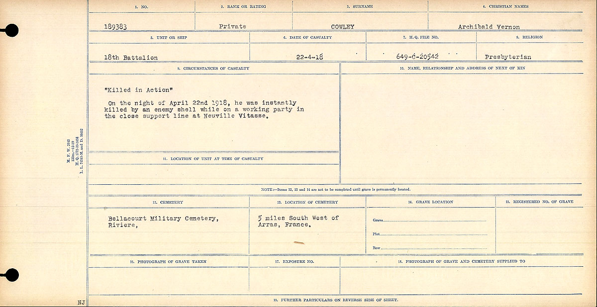 """Circumstances of Death Registers– """"Killed in Action"""" On the night of April 22nd, 1918, he was instantly killed by an enemy shell when he was on a working in the close support line at Neuville Vitasse.  Contributed by E.Edwards www.18thbattalioncef.wordpress.com"""