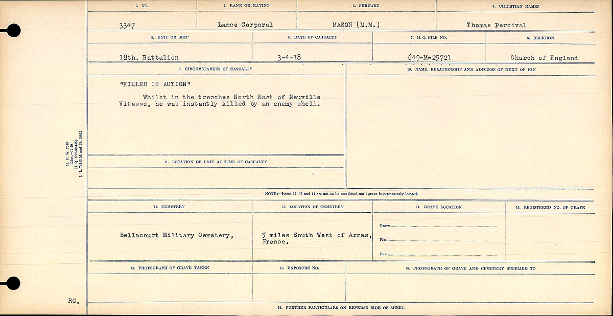 "Circumstances of Death Registers– ""Killed in Action"" Whilst in the trenches North East of Neuville Vitasse, he was killed instantly by an enemy shell.