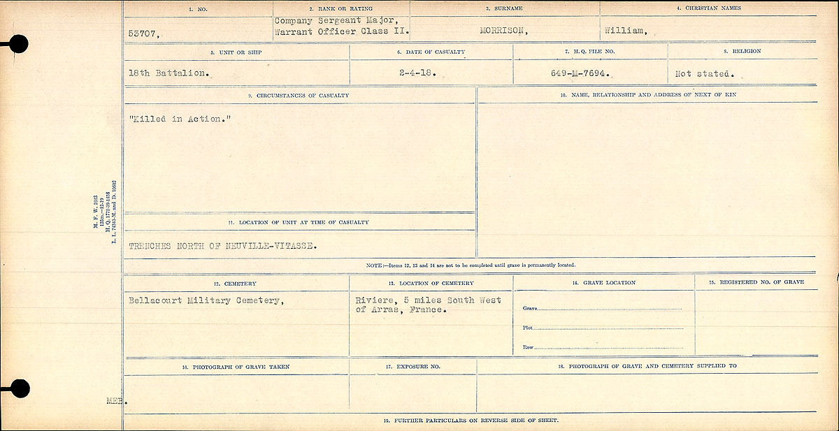 """Circumstances of death registers– """"Killed in Action""""  Contributed by E.Edwards www.18thbattalioncef.wordpress.com"""