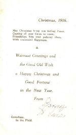 Christmas Card– Inside of WW1 Christmas card.