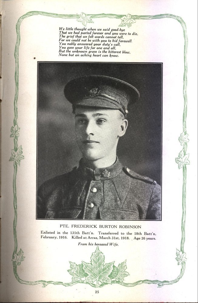 Photo of FREDERICK ROBISON– Image of Pte. Robison sourced from the Regimental Rouge web site.